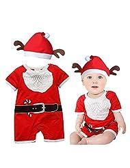 Baby Girl Rompers 2 Piece Jumpsuit with Reindeer Design Christmas Deer Hat