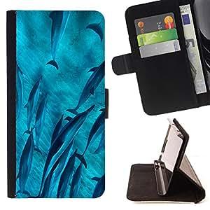 Dragon Case- Mappen-Kasten-Prima caja de la PU billetera de cuero con ranuras para tarjetas, efectivo Compartimiento desmontable y correa para la mu?eca FOR HTC M8 One 2 - Dolphins sea