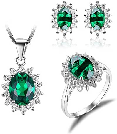 JewelryPalace Women's Princess Diana William Kate Middleton's 6.1ct Nano Russian Simulated Emerald Jewelry Sets Engagement 925 Sterling Silver Ring Pendant Necklace Stud Earrings