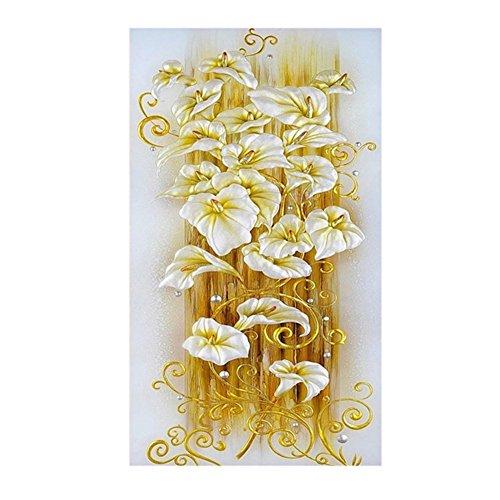 Lily Rhinestone (Gold Lily Flowers Cross Stitch DIY Diamond Rhinestone Painting DIY Cross Stitch)