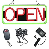 Remote Controlled LED Neon Open Sign - Rectangular Shape, 9x22'' Size, Red - Green Color (#3282)