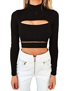 5c7f3f832362e Lookwoild Womens Sexy Front Keyhole Cut Out Crop Top Turtleneck Slim Fit  Long Sleeve Tee T