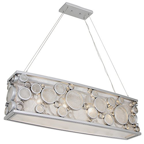 Chandelier Recycled Glass (Fascination 4-Light Linear Pendant - Metallic Silver Finish with Recycled Clear Glass)
