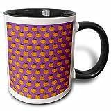 3dRose Anne Marie Baugh - Halloween - Cute Halloween Orange Pumpkins With Vines Pattern On Purple Background - 15oz Two-Tone Black Mug (mug_216847_9)