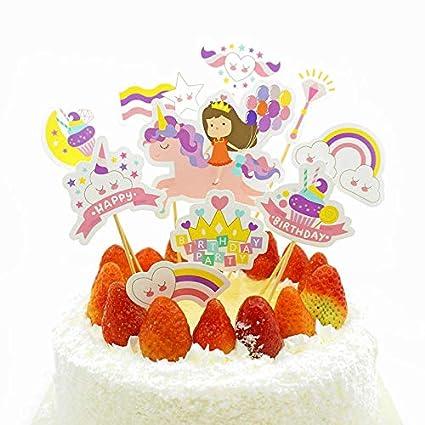 Marvelous Light Rain 40Pcs Unicorn Girl Crown Rainbow Magic Birthday Cupcake Funny Birthday Cards Online Elaedamsfinfo
