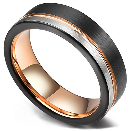 (King Will Loop Tungsten Carbide Wedding Band 6mm Rose Gold Line Ring Black and Silver Brushed Comfort Fit (12.5))