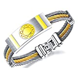 Wonlines Hip Hop Stainless Steel Gear Tag Bangle Wire Braid Wristband Bracelet(White Gold)
