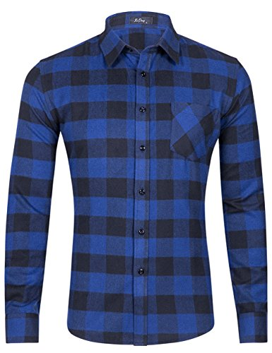 DOKKIA Men's Dress Buffalo Plaid Checkered Fitted Long Sleeve Flannel Shirts (Navy Blue Black Buffalo, Medium)