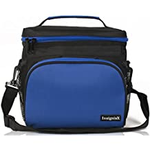"Insulated Lunch Bag: InsigniaX Adult Lunch Box For Work, Men, Women, Boys, Girls With Adjustable Strap, Front Pocket and Side Pocket [Unisex Lunch Bags] . Size H: 8.4"" x W: 9.1"" x L: 6.3"" (Large, Black & Blue)"