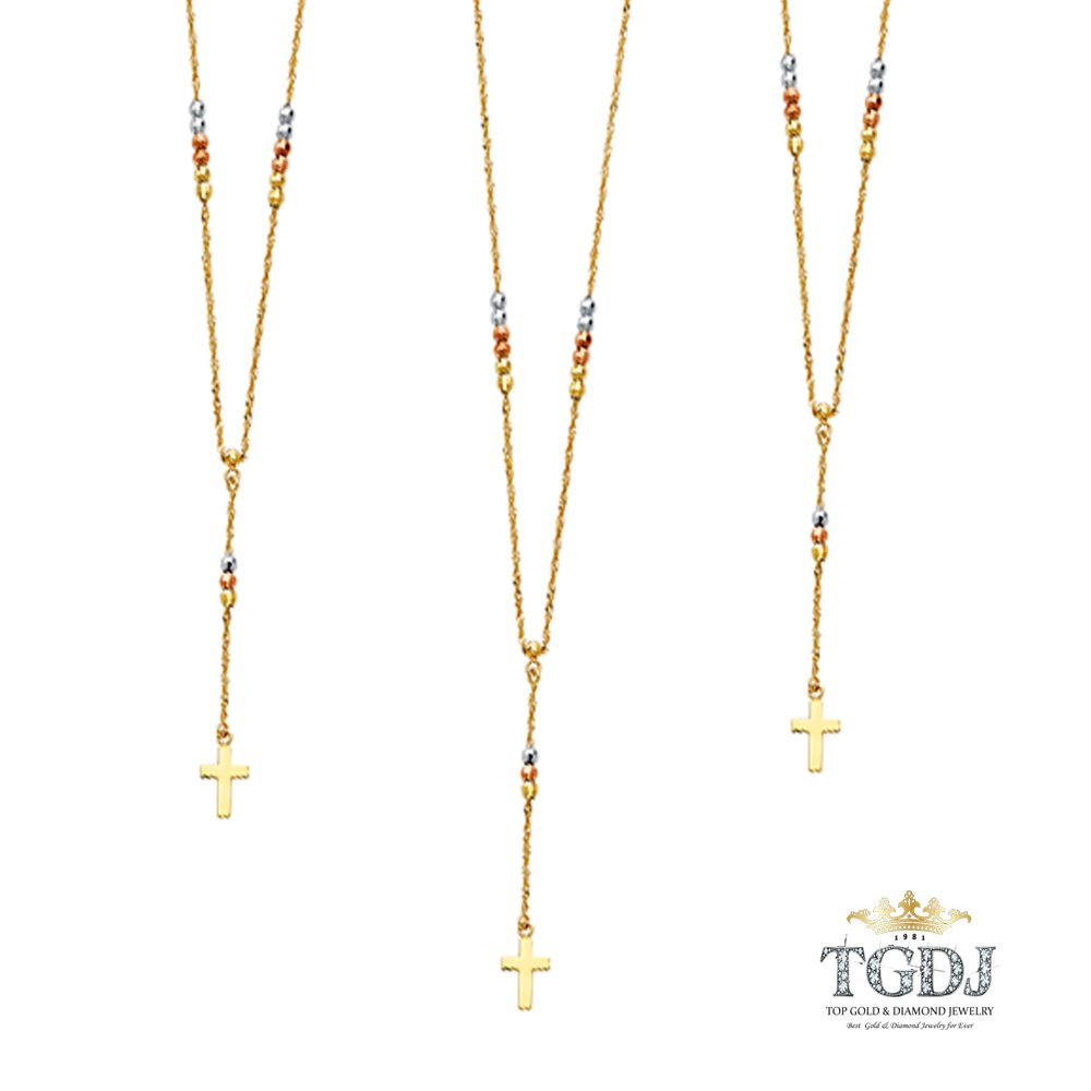 TGDJ 14K Tricolor Gold Mirrorball Bead Protestant Rosary Necklace with Cross 17inches