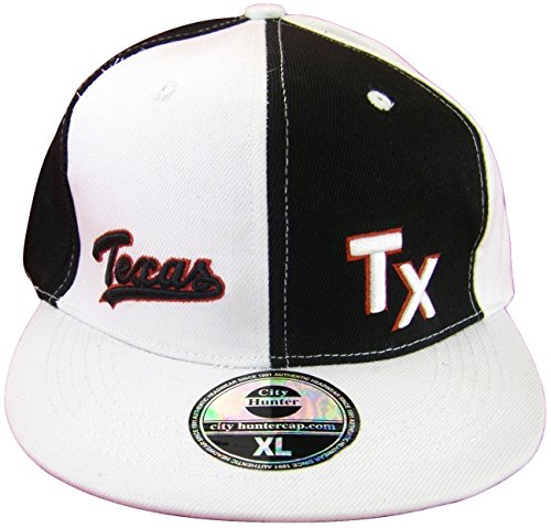 Texas Men's Fitted Flat Brim Baseball Caps (TX White/Black Pinwheel, - Pinwheel Cap Fitted