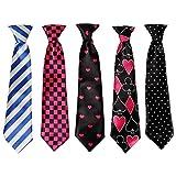 Bundle Monster 5pc Mix Design Boys Formal Pre-Tied Polyester Neckties - Set 5, Heartthrob
