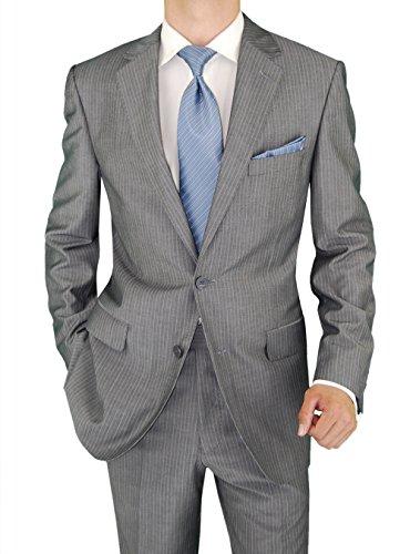 Two Button Gray Stripe (Salvatore Exte Men's Suit Two Button Jacket Flat Front Pants Stripe (48 Regular US / 58R EU / W 42
