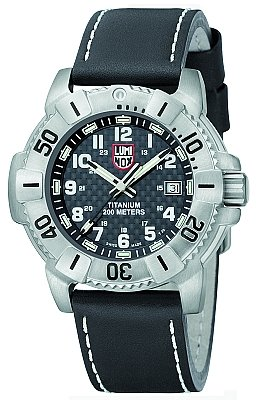 Luminox Evo Navy Seal Titanium Dive Carbon Black Dial Leather / Black Mens Watch 6608