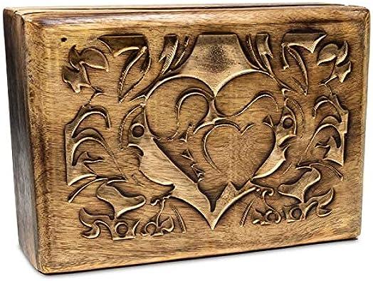 Caja tarot madera de mango incrustado con corazón 17 x 12 x 6,5 cm tallado revestimiento interior rojo joyero corazón: Amazon.es: Joyería