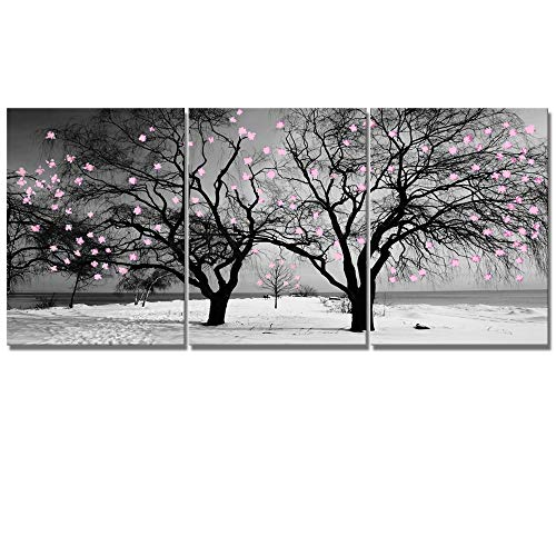 Black White Winter - Welmeco Gray Canvas Wall Art Decor Black and White Winter Twin Tree with Pink Floral Graffiti Picture Prints Artwork for Modern Home Office Living Room Decoration (01 Pink Flowers, Total L-36 x H-16)