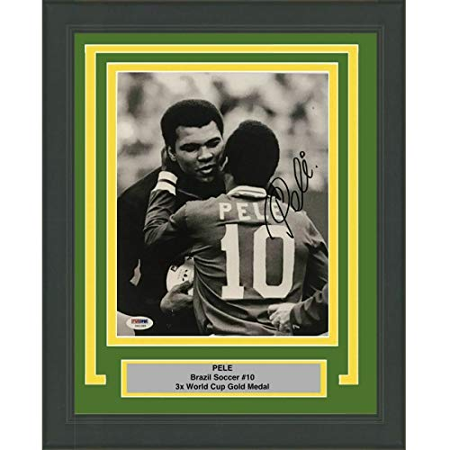 (Framed Autographed Signed Memorabilia Pele Brazil 8x10 Photo With Muhammad Ali - PSA/DNA Authentic)
