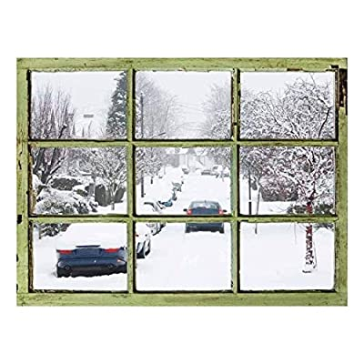 Pretty Visual, it is good, Window View Wall Mural It Snowed Last Night Vintage Style Wall Decor Peel and Stick Adhesive Vinyl Material