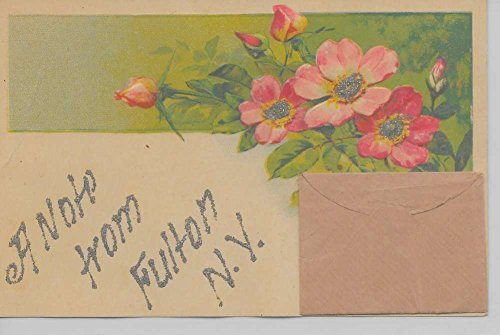 (Fulton New York A Note From envelope flowers glittered antique pc Z19934)