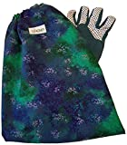 Blue & green ladies NOMPI poison ivy sleeved gardening glove arm protection