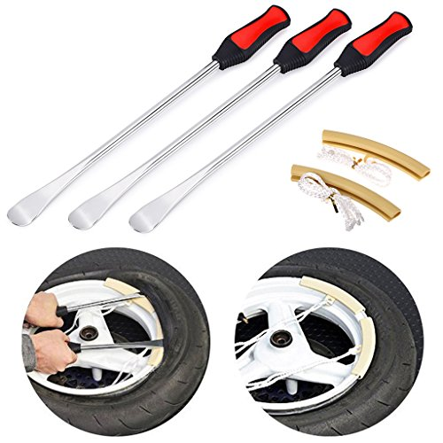 Sumnacon Large Tire Levers Spoon Set 14.5 Inch, Solid Heavy Duty Motorcycle Bike Car Tire Irons Tool Kit,3 Pcs Tire Changing Spoon + 2 Pcs Rim Protector by Sumnacon (Image #7)