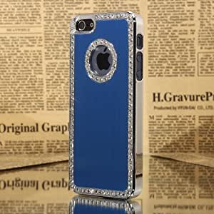 Best Smart Iphone 4/4S Deluxe Blue brushed aluminum diamond case bling cover for iphone 4/4S
