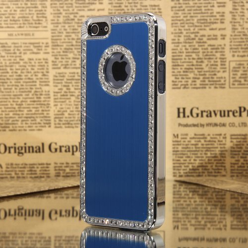 Posh Style Iphone 5/5S Deluxe Blue brushed aluminum diamond case bling cover for iphone 5/5S