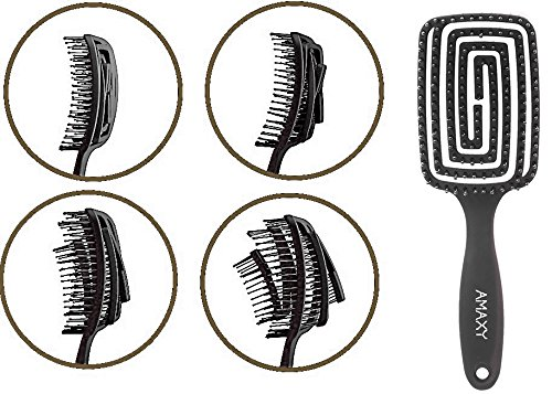 Amaxy Curved & Vented Detangling Hair Brush - Faster Blowdry - Easy To Clean - Designed For Long, Thick, Thin, Curly & Tangled Hair - Never have to deal with tangled hair anymore!