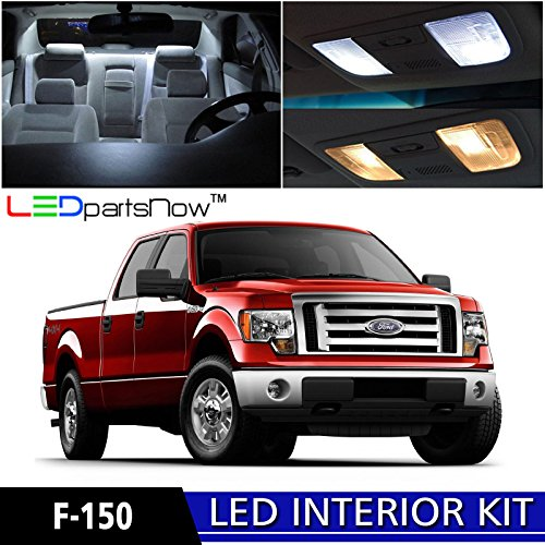 LEDpartsNow 2009-2014 Ford F-150 F150 LED Interior Lights Accessories Replacement Package Kit (11 Pieces), WHITE