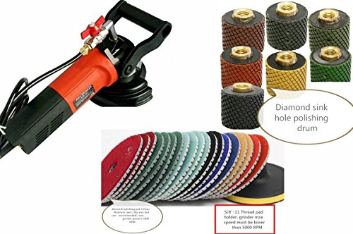 4-Inch to 5-Inch Wet Polisher Grinder 2'' granite marble polishing drum diamond 4'' polishing pad 12+1 stone masonry terrazzo concrete vanity top tile counter top sink by Diamond Abrasive and Power Tool