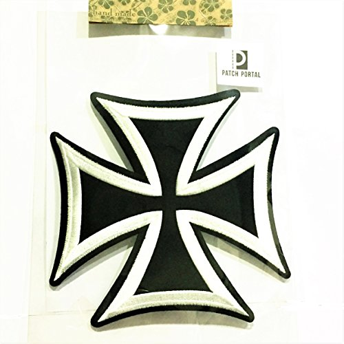 Celtic Maltese Cross Large 8 Inches Embroidery Designs Black and White Gothic Sign Tattoo Pattern Emblem Badge Embroidered Back Patch Biker Motorcycle DIY Appliques Logo Sew Iron on Jacket Vest Shirt