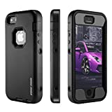 iPhone SE Case, iPhone 5 5s Case [Heavy Duty] PowerMoxie® with Film Screen Protector Defender style Dual Layer durable Protection Cover Iphone 5 5s SE - Black