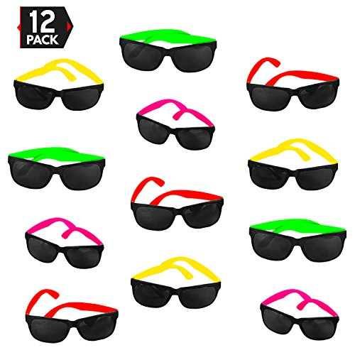 12 Pack 80's Style Neon Party Sunglasses – Fantastic Party Pack Favors, Party Toys For Goody Bags by Big Mo's - Sunglasses Wayfarer Best Style