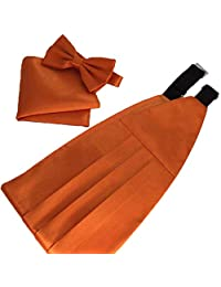 MENDENG Men's Solid Color Soft Stain Bow Tie Handkerchief Cummerbund Tuxedo Set
