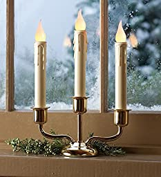 Battery-Operated Cordless Classic Triple Candle With Auto Timer, in Bronze