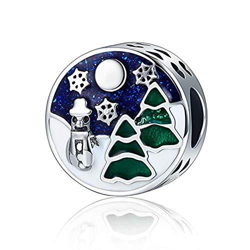(Christmas Tree Charm 925 Sterling Silver Winter Snowman Christmas Eve Bead Gift for Christmas Fit DIY Bracelet or Necklace)