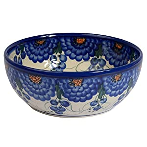 Traditional Polish Pottery, Handcrafted Ceramic Salad Bowl (900ml), Boleslawiec Style Pattern, d.18cm, M.703.Arts
