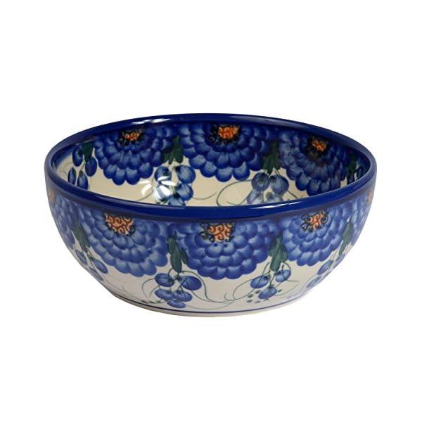 Traditional Polish Pottery, Handcrafted Ceramic Salad Bowl (900ml), Boleslawiec Style Pattern, d.18cm, M.703.Arts