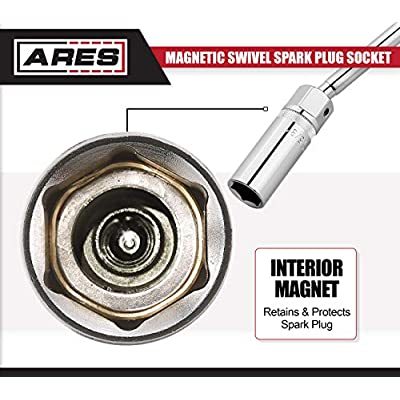 ARES 70045-3/8-Inch Drive by 5/8-Inch Magnetic Swivel Spark Plug Socket - 10-Inch Swivel Extension Permits Access to Most Confined Areas: Automotive
