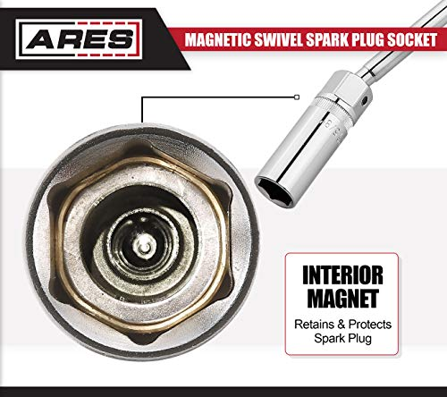 ARES 70045   3/8-inch Drive by 5/8-inch Magnetic Swivel Spark Plug Socket   10-inch Swivel Extension Permits Access to Most Confined Areas by ARES (Image #3)