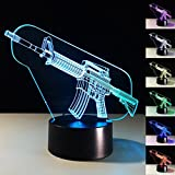 Threetoo 3D Machine Gun Night Light Acrylic 3D LED USB 7 Color Change LED Table Lamp Xmas Toy Gift