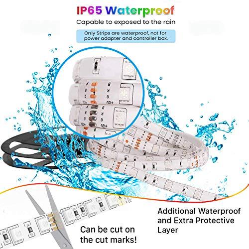 CesCoo LED Light Strip,16.4 ft Waterproof Ip65 RGB LED Strips, 44-Key IR Controller Bright 5050 LED 8 DIY Modes, LED Lights for Bedroom, TV Back, Kitchen, Bar, Shop Window, Christmas Decoration