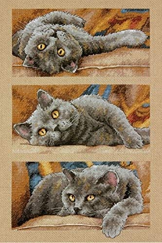 (Dimensions 70-35301 Max the Cat Counted Cross Stitch Kit, 14 Count Beige Aida,  10