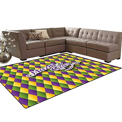 (Mardi Gras Customize Door mats for Home Mat Hand Writing Calligraphy Design on Diamond Line Pattern Iconic Colors Bath Mats Carpet 6'x7' Purple Green Yellow)