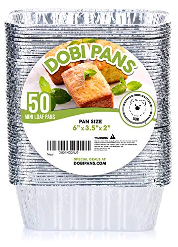 DOBI (50 Pack) Mini Loaf Baking Pans - Disposable Aluminum Foil 1lb Small Bread Tins, 6