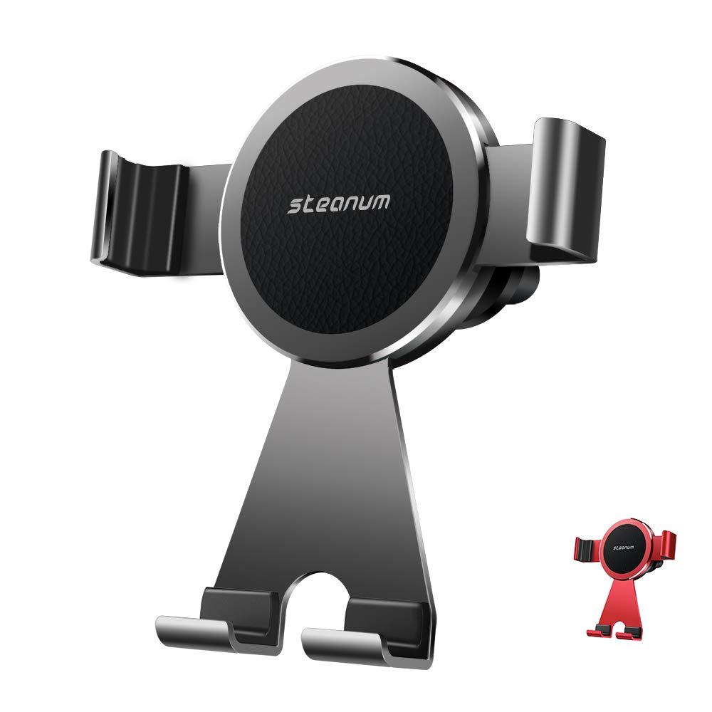 steanum Supporto Auto Smartphone, Metallo Universale 360 Gradi di Rotazione Porta Cellulare Auto per iPhone XS Max/Xs/Xr/X/8/7/6, Samsung S9/S8/S7/S6/Note9/8 Huawei,Xiaomi,One Plus-Rosso PH02