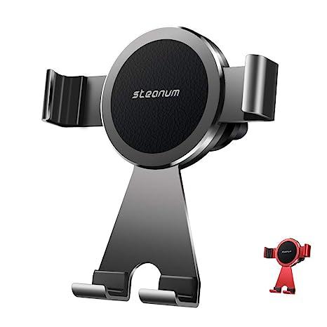 steanum Soporte Móvil para Coche, Metálico Teléfono Soporte Coche Montaje de Ventilación 360º Rotación para