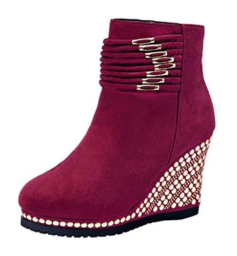 Laikakingdom Fashionable High Heels Slidsole Suede Shoes For Women(6 B(M) US, Red)