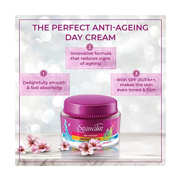 Spawake Anti Aging Face cream, Age Solution Intensive Day Cream, with SPF 20 PA++, 50g 2021 August Anti Aging Face cream makes skin firmer and provide a youthful glow. UV rays often cause skin darkening and ageing but with SPF 20/PA++, this Anti Aging Face cream combats sun damage in the best way possible ! Enriched with sea minerals, this Day Cream hydrates your skin from deep within. Non-sticky, it instantly makes your skin feel smooth and soft !