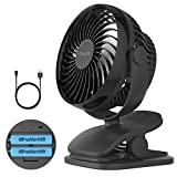 COMLIFE 5200mAh Battery Operated Clip On Fan, Quiet Stroller Fan, Mosquito-Repellent/Aroma Diffuser Function, 4 Speeds, 360 Degree Rotation, Powerful Airflow Camping, Office, Car